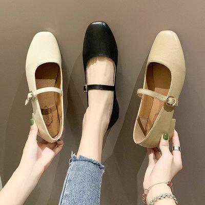 春夏 單鞋瑪麗珍鞋女春季新款時尚一字扣方頭復古奶奶鞋晚晚風淺口單鞋