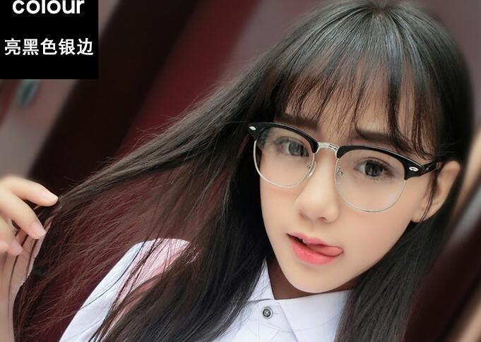 復古眼鏡框黑框男潮個性女防輻射鏡架金屬半框韓版文藝平光鏡