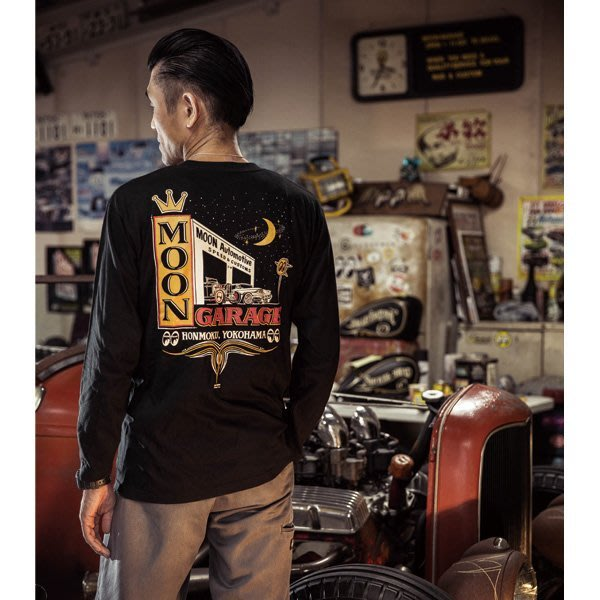 (I LOVE樂多)MOON Automotive Garage Long T-Shirt汽車車庫打印設計 T桖 長袖