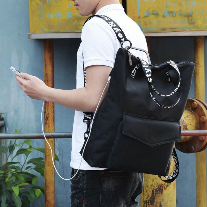 SX千貨鋪-新款極簡潮流純色防水尼龍多功能手提包百搭學院風雙肩背包男#男士背包#書包#單肩包#書包