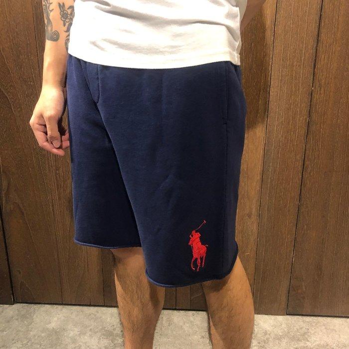 美國百分百【全新真品】 Ralph Lauren RL 大馬 短褲 休閒 棉褲 下緣 不收邊 深藍/紅色/白色 AJ41