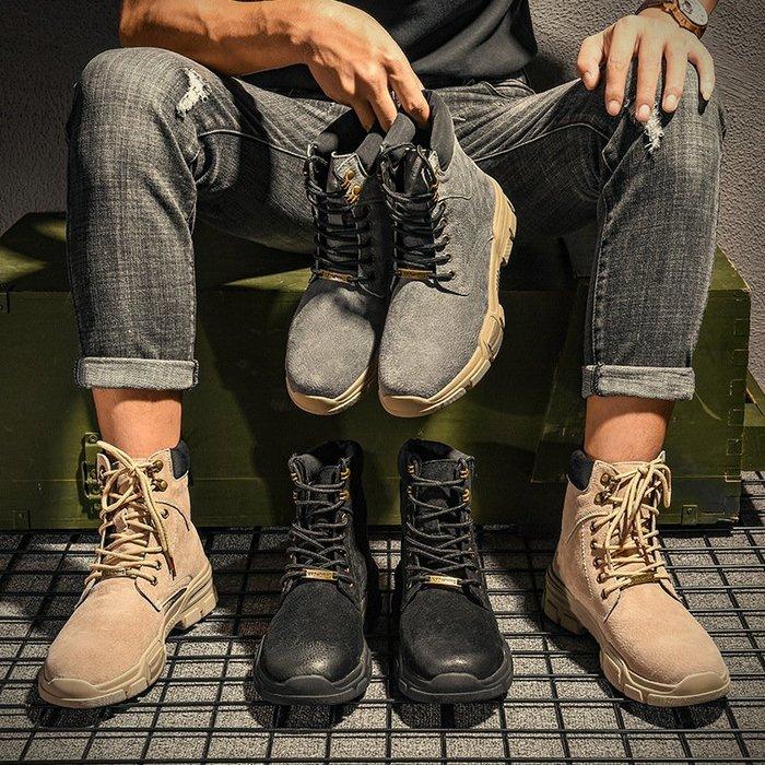 【最新潮流時尚】沙漠靴秋季男士高幫鞋沙漠短靴子男真皮潮流工裝軍靴百搭英倫馬丁靴男休閒