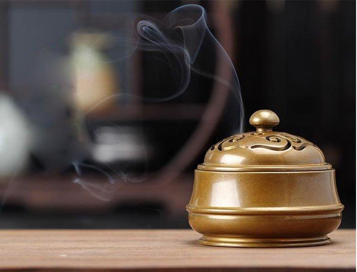 銅香爐 仿古家用供佛檀香爐 鼎盤香爐香薰擺件熏香爐純銅