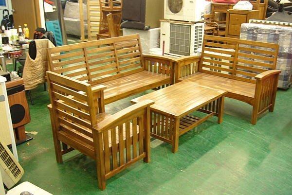 樂居二手家具 原木傢俱賣場P148橫條柚木頭椅 原木沙發椅加大茶几 實木板椅 客廳桌椅木沙發 茶几