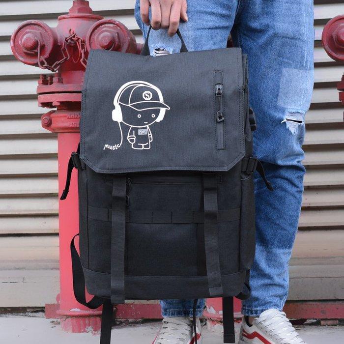 SX千貨鋪-韓版背包男時尚潮流雙肩包高中學生書包男旅行大容量雙肩包#男士背包#書包#單肩包#書包
