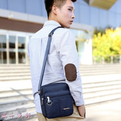 時尚佳人=男包尼龍布休閒包男單肩斜挎包簡約輕便小背包旅行包潮流男包新款=腰包、側背包、包包、肩背包、斜背包、後背包