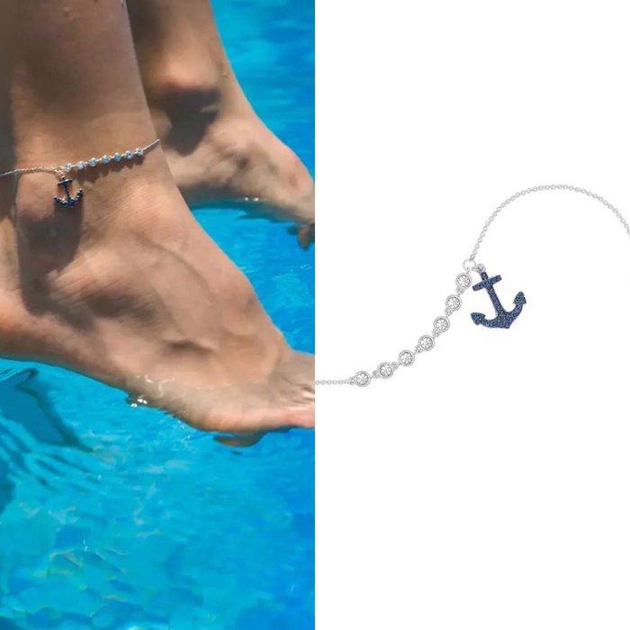 💎1313、地中海系列 婆娑之洋海軍藍船錨輕奢項鍊💎正韓飾品 耳環 珠寶 925純銀針