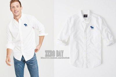 零時差美國時尚網A&F正品Abercrombie&Fitch EXPLODED ICON OXFORD大麋鹿牛津襯衫-白