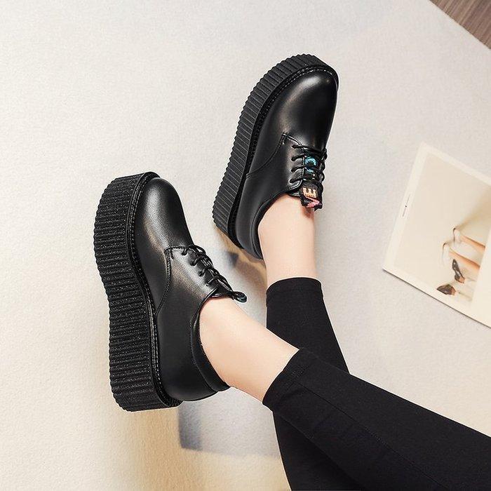2018春新款韓版日系小皮鞋女鞋英倫學院風圓大頭厚底鬆糕復古學生