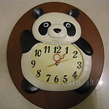 *Vesta  維斯塔*可愛貓熊實木藝術精品時鐘