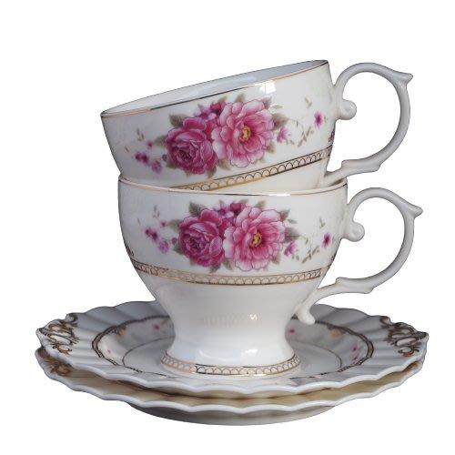 現貨/粉紅玫瑰花茶咖啡對杯禮盒組 下午茶 玫瑰花 咖啡杯 花茶杯 古典玫瑰園 咖啡杯盤 送禮居家喬遷禮盒