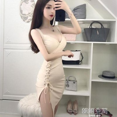 性感夏裝女夜店吊帶低胸V領綁帶修身顯瘦包臀洋裝 韓語空間