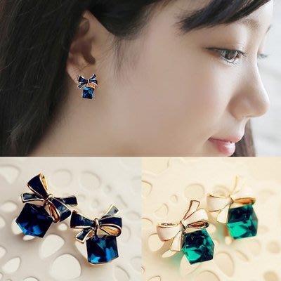 蝴蝶結水立方 水晶方塊 氣質簡約 甜美百搭  耳釘 耳環  夾式 【希望種子購物網】