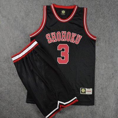肌肉先生SD灌籃高手球衣隊服湘北3號赤木晴子籃球衣背心籃球服套裝黑色