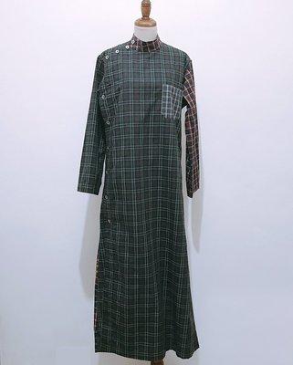 平常小姐┋2手┋日本【77 Circa】日本製remake vintage復古格紋拼接連身裙Ⓕ綠格 只有一件不撞衫