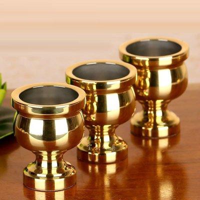 旦旦妙 純銅供佛聖水杯如意素面酒杯茶杯關公財神供杯 小號 一套 童銅13