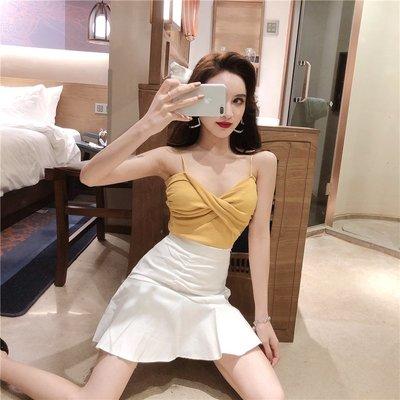 日韓女裝 洋裝 T恤 女褲 網紅套裝兩件套2019新品百搭V領針織小吊帶高腰不規則半身裙女裝