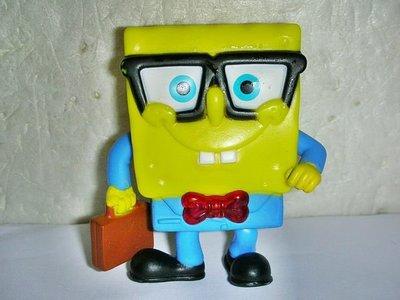 A73.(企業寶寶玩偶娃娃)少見2012年麥當勞發行海綿寶寶上班族造型發亮公仔值得收藏!