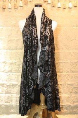 【性感貝貝2館】灰黑色玫瑰圖案背心披風罩衫外套,  Nice Claup Jessica NR Basler 六藝款 台北市