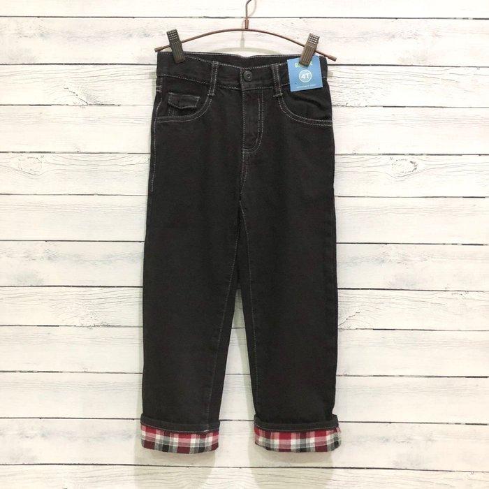Maple麋鹿小舖 美國購買童裝品牌 GYMBOREE 男童黑色反折格紋長褲 * ( 現貨4T )