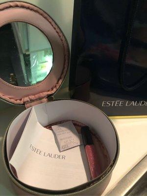 雅詩蘭黛 乾燥玫瑰色 圓筒鏡子化妝包+唇蜜 交換禮物 生日禮物 旅行 隨身