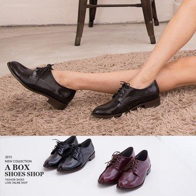 格子舖*【AIB378】韓版熱賣學院風光澤亮皮 綁帶低跟紳士鞋牛津鞋包鞋 2色