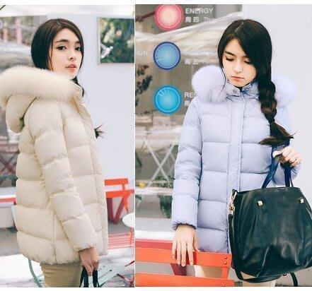 【優上精品】PIAOIN奢華進口狐貍毛 糖果色短款羽絨服女韓版 米歐洲站(Z-P3208)
