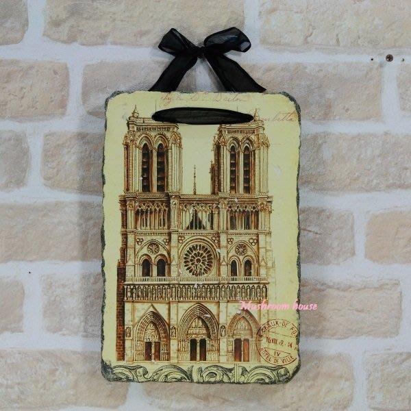 點點蘑菇屋{岩磚畫璧飾}哥德式大教堂石膏畫 復古掛飾 鄉村雜貨