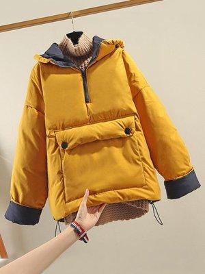 短款套頭棉服女2019冬季新款韓版羽絨棉衣寬鬆bf大碼加厚棉襖外套