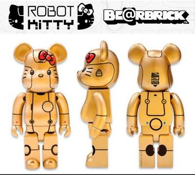 Be@rbrick Robot Kitty 1000% 新加坡 限定 金色
