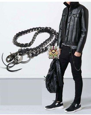 -V世界-龐克骷髏頭皮繩金屬褲鍊腰鍊