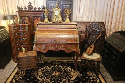 【家與收藏】賠售特價稀有珍藏歐洲百年古董法國19世紀古典優雅Kingwood精緻手工inlaid鑲嵌寫字桌/櫃