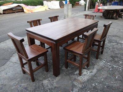 A055 {崙頂傳統原木家具行}~杉木實木固定桌配6張杉木靠背餐椅 跟 接受訂作 訂色 多款選擇 不含玻璃