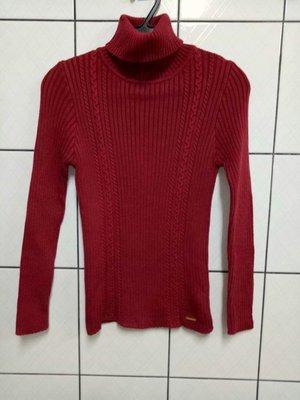 (愛莎&嵐) Anny Princess 安妮公主童裝 長袖紅色反摺領毛衣/140 1070307