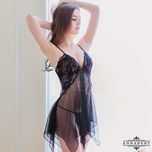 【Pretty Maid】大尺碼 Annabery 魅黑柔紗開襟二件式睡衣 NY14020042-1