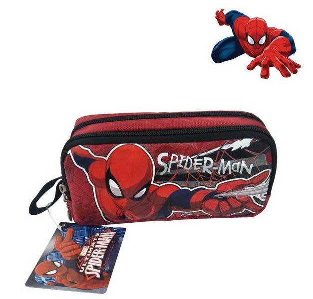 蜘蛛人SPIDER MAN紅底紅蜘蛛網款雙層帆布筆袋(3歲以上適用)新款上市