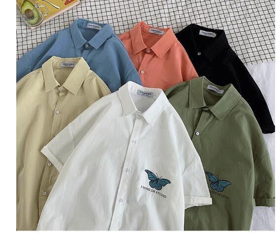 FINDSENSE X  男士 薄款 短袖襯衫 夏季男純色上衣情侶襯衣潮襯衫
