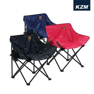 丹大戶外【KAZMI】KZM 印花休閒折疊椅 K20T1C018 黑、紅、藍 小椅子│露營椅│摺疊椅│椅子│防水