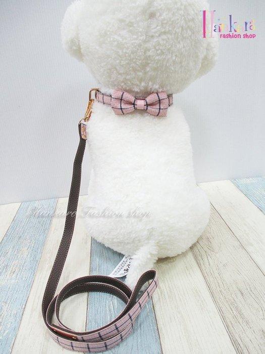 ☆[Hankaro]☆ 寵愛毛小孩粉色蝴蝶結狗頸圈牽繩組含盒(共三種尺寸)