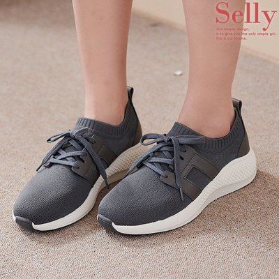 [雙12限定12/1~12/13]MIT極輕量-針織拼接牛皮綁帶休閒鞋2色-Selly-沙粒-(MIT220)