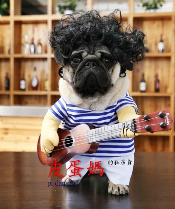 【皮蛋媽的私房貨】CLO0425寵物狗狗樂團吉他手-吉他手變身裝/搞怪拿吉他服裝/搞笑彈吉他-寵物衣服狗衣服貓衣服-趣味