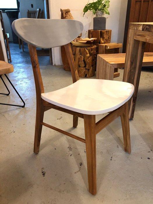 柚木撞色單人餐椅書桌椅 (L42 W49 H44/78 cm)