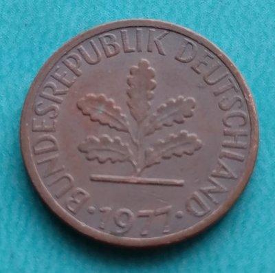 德國 1977年 1芬尼 J記 銅幣 280-058