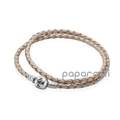 美國正品代購PANDORA Leather w/Sterling Silver Clasp 白色 雙圈皮繩手鍊