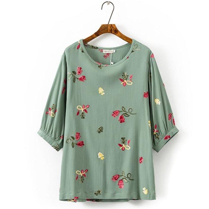 【Ms.more】❤♥現貨出清!!! 中大碼 復古精緻刺繡寬鬆燈籠袖上衣,麻紗棉上衣UN01 綠色2XL