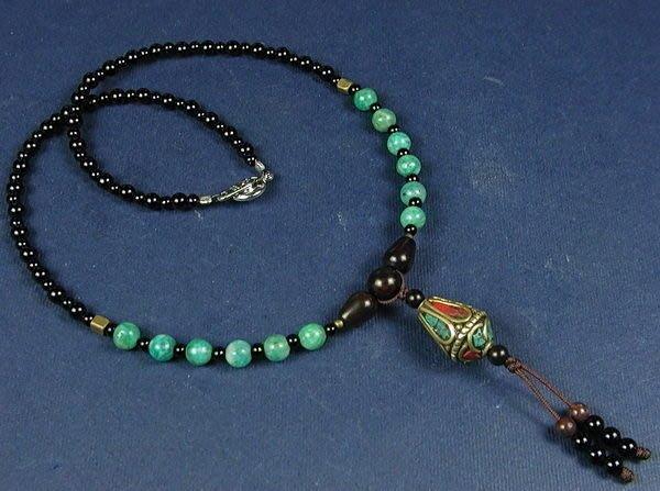 藏珠物流中心**鑲綠松珊瑚銅珠(錐型)**天河石**秀氣項鍊**☆F026☆