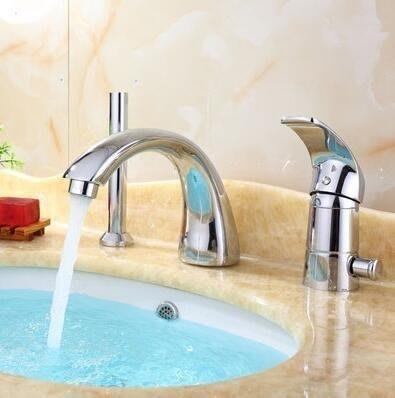 分體浴缸龍頭三件套 四方檯面三孔雙出水帶抽拉伸縮花灑噴頭【B款三件套配齊軟管】LJ-818399