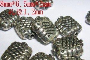 琥珀貓~【925純銀材料配件】造型方珠~扁水壺珠~一個~孔1.2mm~