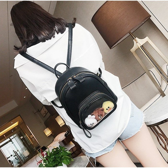 新款韓版雙肩包女背包卡通純色防潑水學生書包休閒雙肩背小