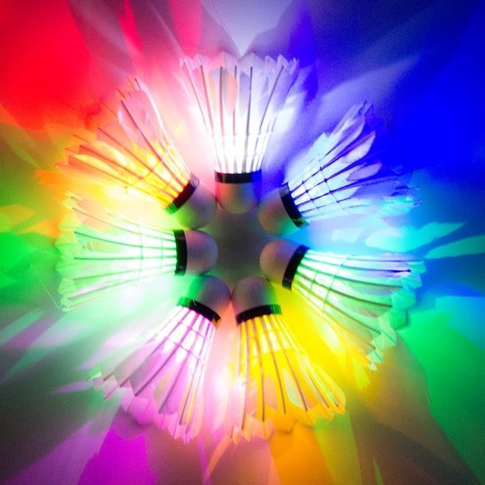羽球4只裝博卡彩色熒光帶燈羽毛球耐打LED夜光發光發亮打不爛